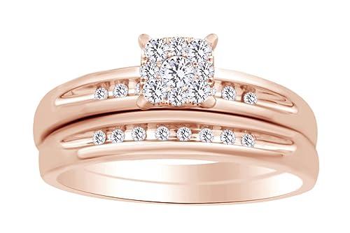 Juego de anillos de boda de diamante natural blanco en oro rosa macizo de 10 quilates (0,30 quilates) -RG-S1/2: Amazon.es: Joyería