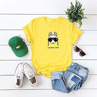 DTX T-Shirt da Donna Manica Corta in Cotone Estivo Divertente Top, Giallo, m