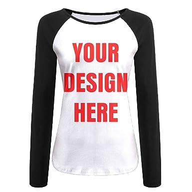 2f7f10bc Custom Women Long Sleeves Baseball T Shirts Raglan 3D Digital Add  Personalized Message Image Casual Top