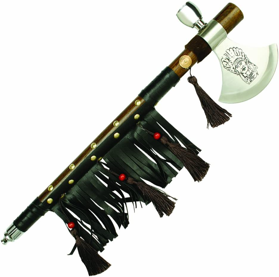 "19"" Native American Tomahawk with Beaded Accents and Leather Tassels"
