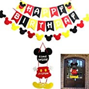 Mickey Mouse Party Supplies Kits, Mickey Happy Birthday Banner Flags, Garland and Welcome Hanger Door Sign for Baby Kids Show