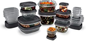Rubbermaid EasyFindLids Food Storage Containers with SilverShield Antimicrobial Product Protection, 42-Piece Set, Grey