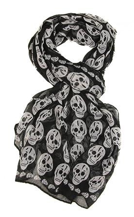Skull Scarf Long Scarf Gothic Vintage Fashion Scarf Ladies Shawl Wrap Wide  Scarf Black af890a7b0