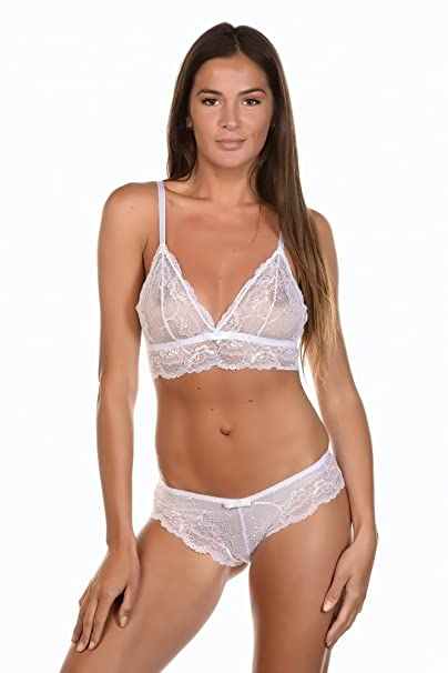 Just For Victoria - Conjunto de lencería - para mujer blanco blanco
