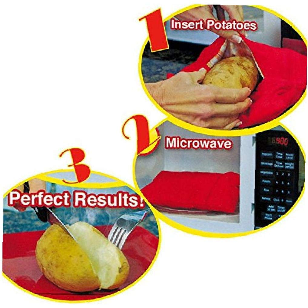 MICHAELA BLAKE Conveniente Microondas Patata Cocina Microondas Bolsa de Patatas Bolsa Reutilizable Lavable para Hornear