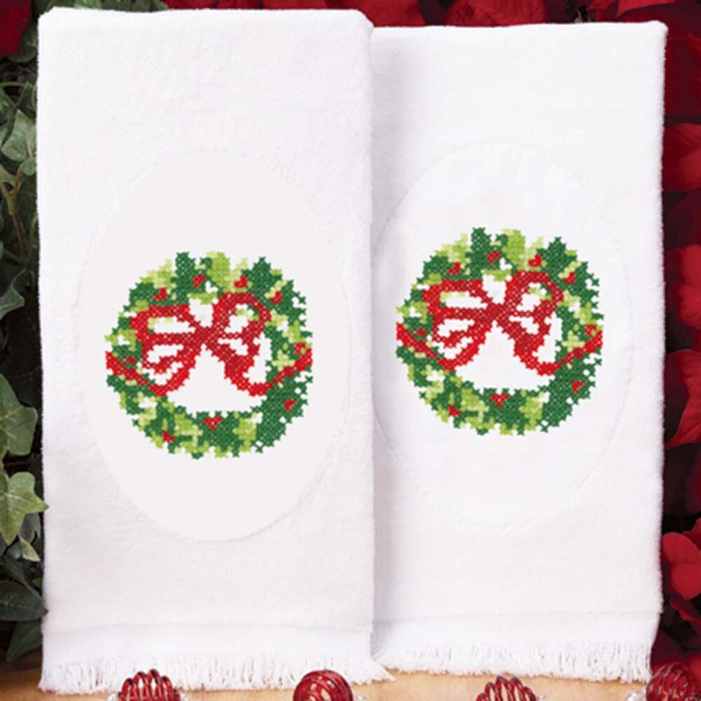 Herrschners® Christmas Wreath Terry Towels Pair Stamped Cross-Stitch