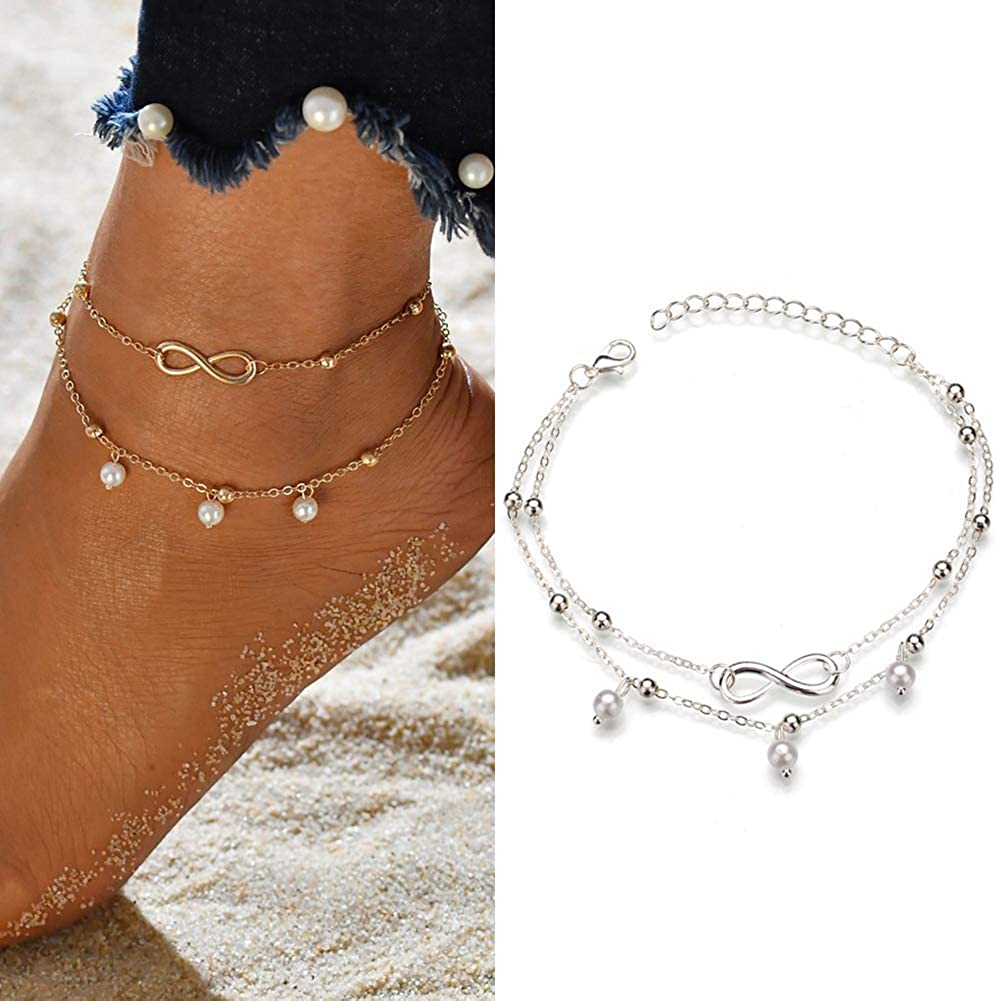 JUESJ Sequins Bullet Chain 3 Layer Sandy Beach Anklet,Three Layers Chain Sequins Type Footchain for Women Girls Fashion Jewelry Accessories