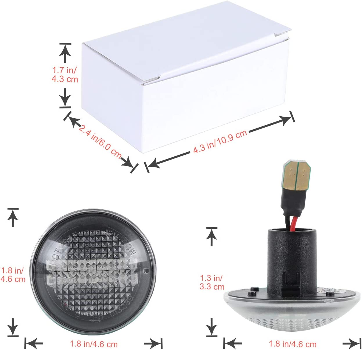 Dynamische Blinkleuchte OZ-LAMPE Seitenmarkierung Flie/ßende Seitenmarkierungen Klar F/ür R-ange R-over L322 2002-2012