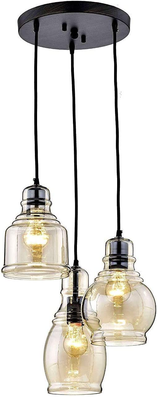 MoreChange Ceiling Pendant Lighting for Kitchen Island Black, Chandelier Hanging Light Fixtures with 3 Amber Glass Lampshades for Dining Room