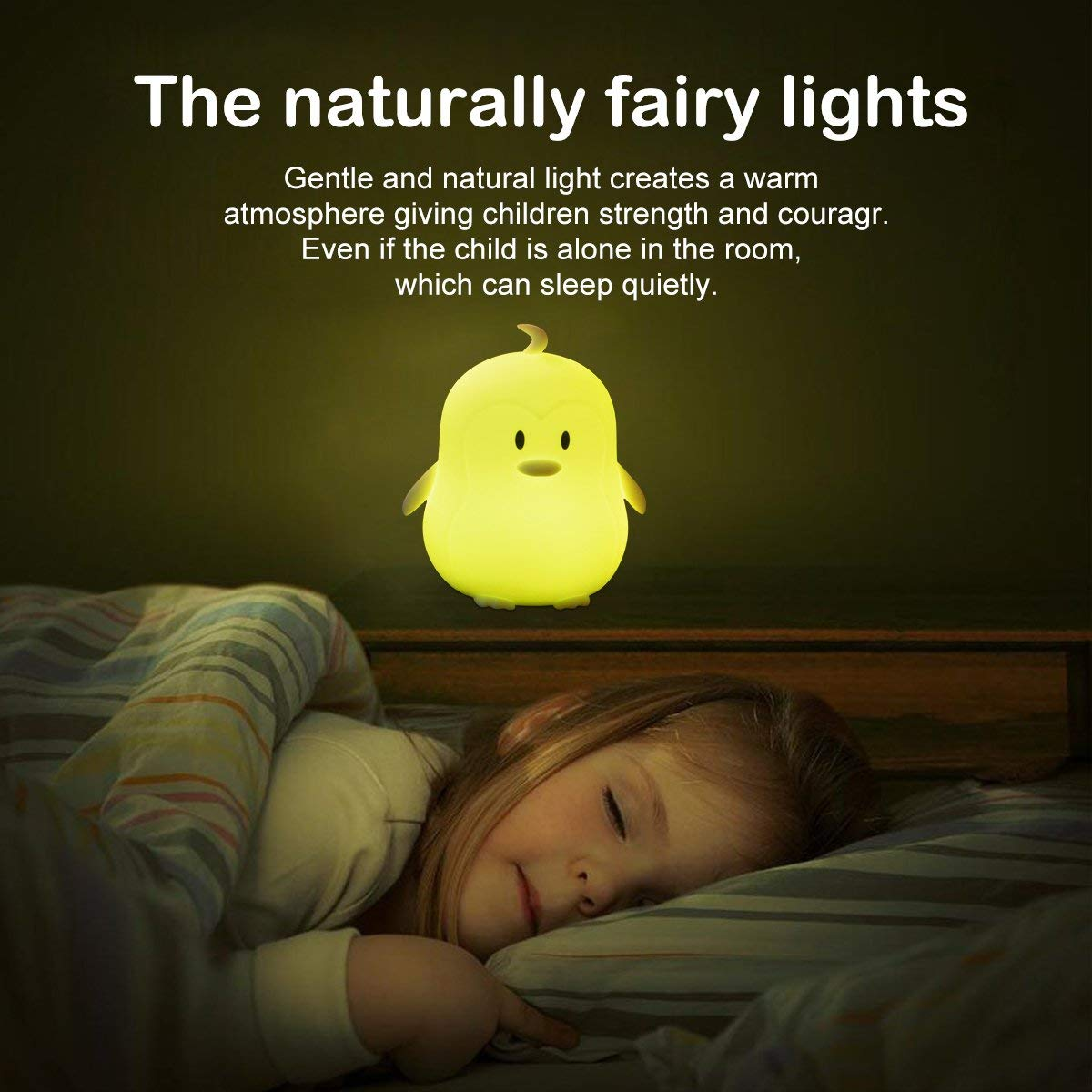 Penguin Night Light for Kids, Cute Baby Nightlights,Rechargeable Nursery Lamp with Touch Sensor and Remote Control,Color Changing Light for Infant or Toddler,Birthday Gift for Baby Girls/Boys