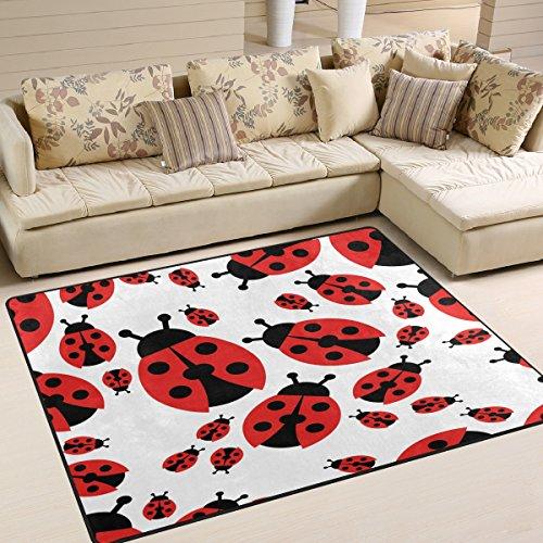 ALAZA Cartoon Red Ladybug Area Rug Rugs for Living Room Bedroom 5'3