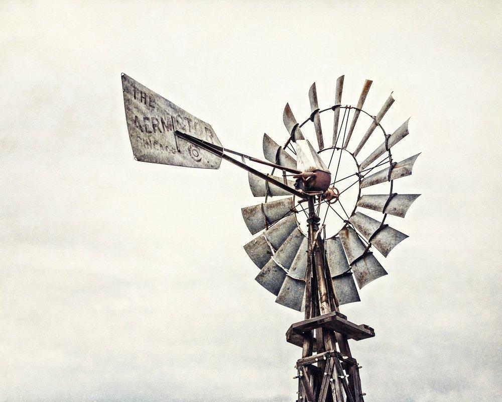 Rustic Farmhouse Decor - 'Aermotor Windmill' - Country Home Decor Print in Neutral Grey Beige Brown.