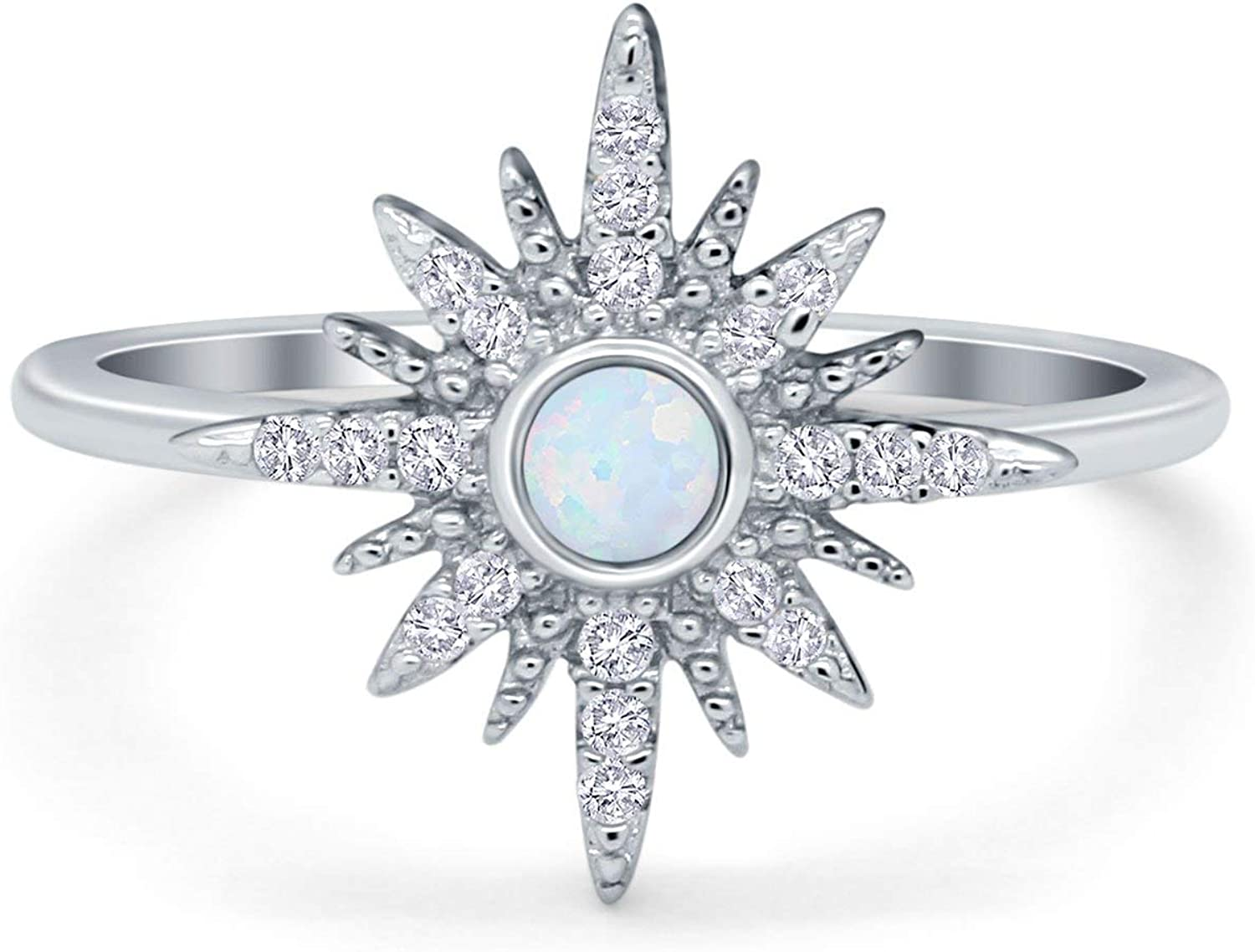 Blue Apple Co. Cluster Fashion Starburst Opal Ring Round Simulated Cubic Zirconia 925 Sterling Silver