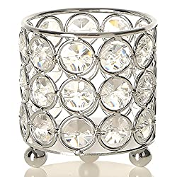 Premium Silver Crystal Candle Holders
