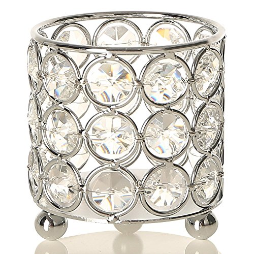 VINCIGANT Silver Crystal Candle Holders,Cylinder Metal Arrangement Container Table Centerpieces for Dining/Living Room Decoration,Gift for Mothers Day/Housewarming