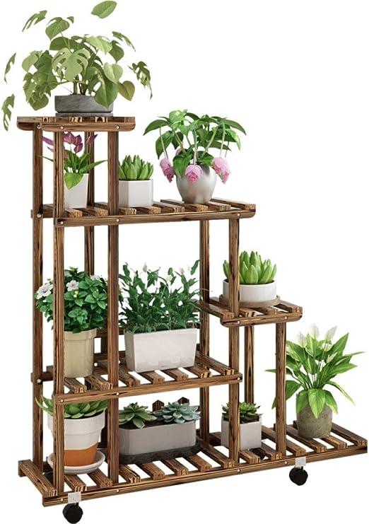 Soporte de Madera para Flores con Ruedas Estanter/ía para Macetas con 3 Niveles Estanter/ía Decorativa de Plantas Macetas para Exterior Interior Jard/ín