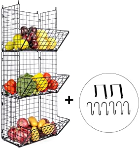 Hanging Fruit Basket 3 Tier Wall Mounted Basket Black Wire Baskets Wall Basket, Mesh Produce Basket Wall Hanging Basket Wire Fruit Basket with 6 S-Hooks, 2 Over-Door Hooks