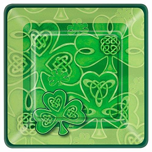 Square Saint Patrick's Day Clover Dessert Plates, 10ct