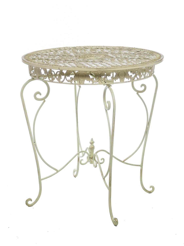 Gartentisch Tisch 73cm Garten Eisen Antik-Stil Gartenmöbel creme ...