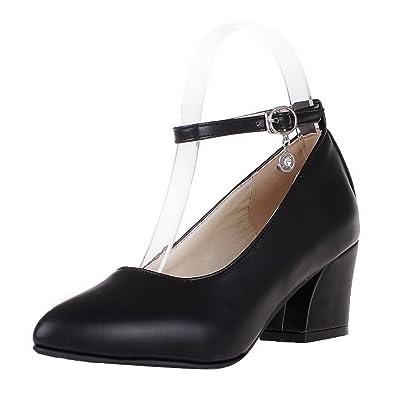 AgeeMi Shoes Damen Spitz Zehe PU Rein Mittler Absatz Schnalle Pumps Schuhe