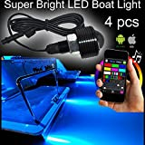 NBWDY 4pc RGB 108W COB LED Boat Light Pod LED Bluetooth Music Apps Control Million Color Marine Bolt Light