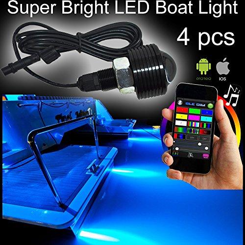 NBWDY RGB COB LED Boat Drain Plug Underwater Light, 4pcs 108W, Swimming, Diving,BlueTooth Music Apps Control Million Color Marine Bolt Light by NBWDY