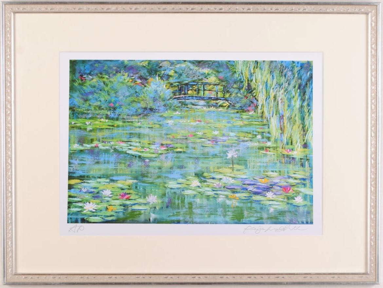 石井清 「睡蓮の咲くモネの池・大」 ジヴェルニー 風景画 絵画 フランス ジークレー 版画 額付き