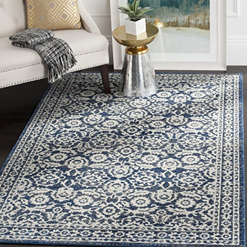 Safavieh Evoke Collection EVK216F Transitional Oriental Royal Blue and Ivory Area Rug (3' x 5')