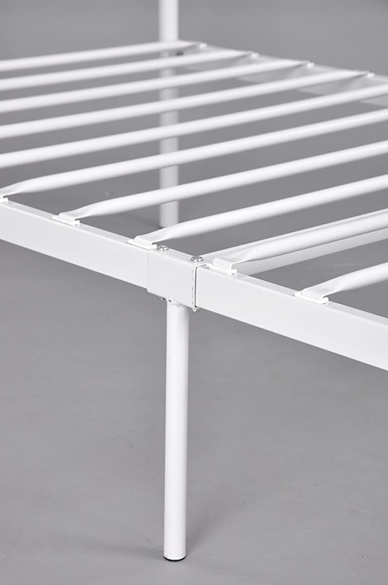 Metal Bed Frame Twin Size, GreenForest Two Headboards 6 Legs Mattress Foundation White Platform Bed Frame Box Spring Replacement for Boys Kids Adult Bedroom