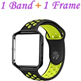 Fitbit Blaze Bands Large, JAKPAS Silicone Replacement Sport Band with Black Frame for Fitbit Blaze Smart Fitness Watch (Black/Yellow)