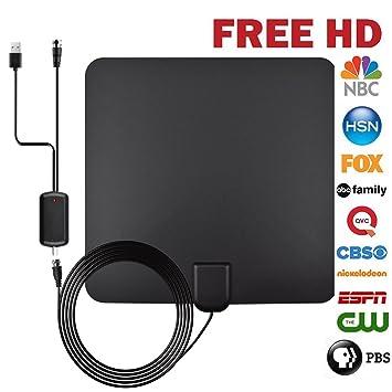 Antena de TV Interior Portátil Antena HDTV Digital Amplificador 50 Millas Gama de Recepción 4M de
