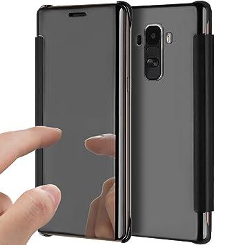Funda para LG G4, LG G4 Espejo Móvil, herbests brillantes Premium Carcasa Funda PU Piel Flip Case Clear View Cover Teléfono Móvil Funda de piel estilo ...