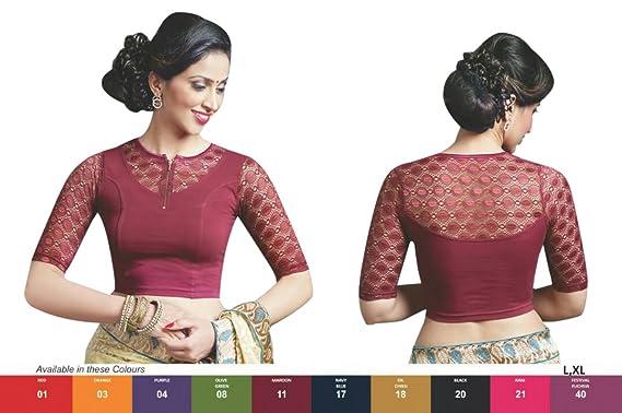 8a4f95dd98802d Amazon.com  Maroon Colour Stretchable Lycra Cotton Ready-made Saree Blouse  Sari Choli Crop SHRI BALAJI (L