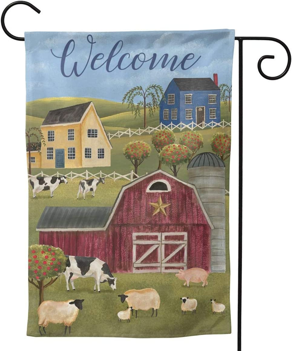 YISHOW Farm Country Cow Sheep Garden Flag Double Sided Vertical House Flags Farm Country Cow Sheep Yard Signs Outdoor Decor 12.5 X 18 Inch