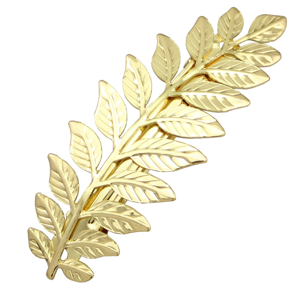 Q&Q Fashion Festival Bridal Gold Leaf Branch French Updo Hair Pin Clip Dress Snap Barrette 80834