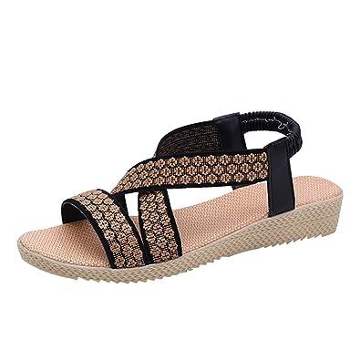 a4b0b9ae84e4 YOUJIA Womens Flip Flops Roman Gladiator Strappy Flat Sandals Elastic Strap  Peep Toe Summer Beach Flat