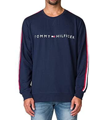 bc5ac456 Tommy Hilfiger Men's Logo French Terry Crew-Neck Long-Sleeve Tee (Dark Navy,  Small) at Amazon Men's Clothing store: