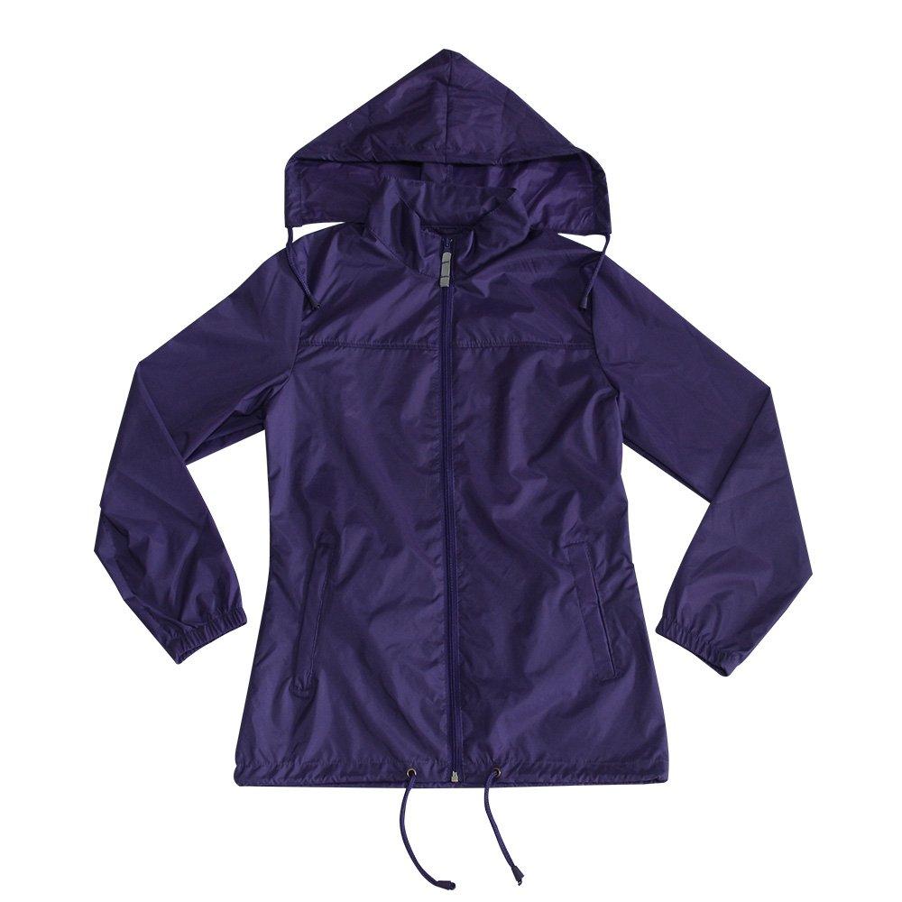 MAYDU Women's Lightweight Waterproof Purple Hooded Quick Dry Raincoat Wind Jacket
