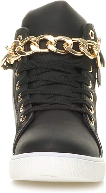 WOMENS LADIES FLAT LACE UP GOLD CHAIN QUILTED HI TOP TRAINERS SNEAKERS SIZE