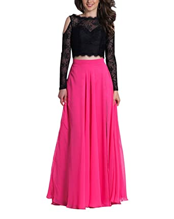 Two Piece Party Evening Dresses Cheap Illusion Long Sleeve Lace Chiffon Formal Gowns Prom Dress Black