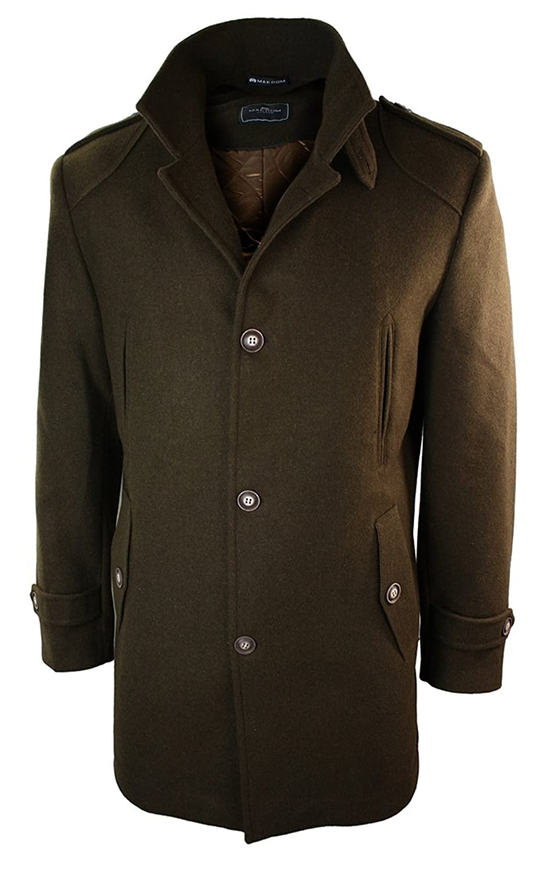 Mens Slim Fit Wool Italian 3/4 Overcoat Jacket Military Style High Collar Brown