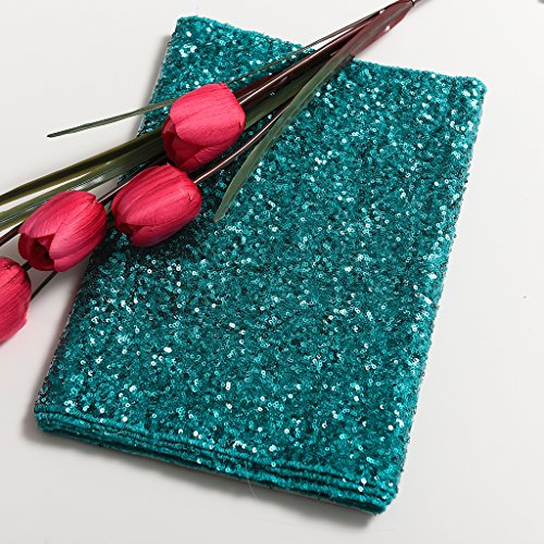 PONY DANCE Premium Quality Glitzy Table Runner Sparking Sequins Table Runner Christmas/Party/Birthday/Wedding/Banquet Decoration,14'' x 108'',(Teal) by PONY DANCE (Image #3)
