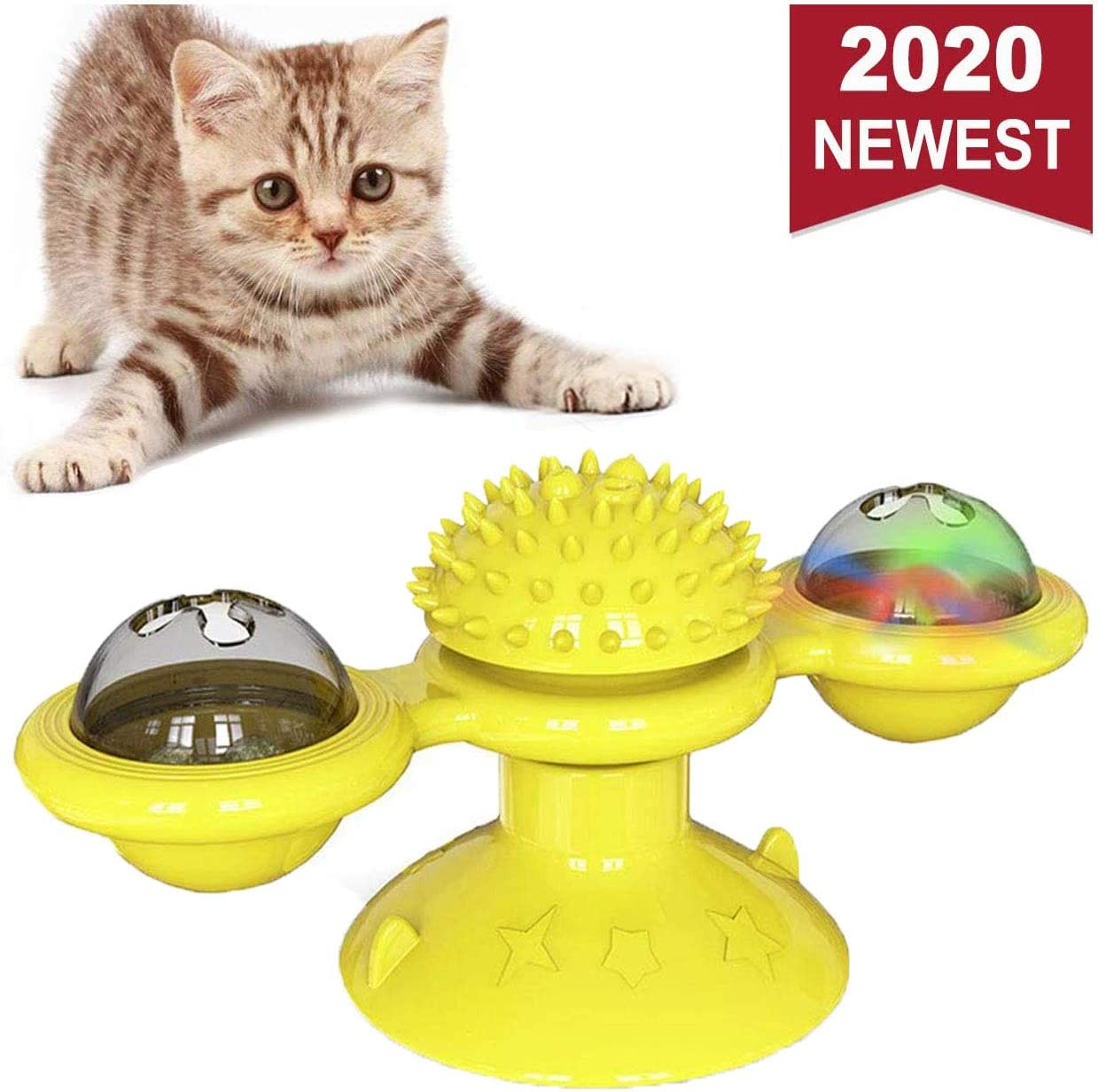 WELLXUNK Windmill Cat Toy, Juguetes para Gatos, Cepillo de Pelo para Gatos rascadores y cosquillas, Juguete Interactivo de burlas giratorias para Gatos, Juguete rascador de cosquillas para Gatos: Amazon.es: Productos para mascotas