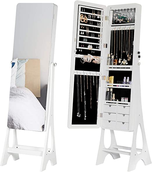 Amazon Com Erommy Floor Standing Jewelry Armoire Frameless Full Length Mirror Lockable Design Angle Adjuestable Jewelry Organizer Large Capacity Dressing Mirror Makeup Jewelry Cabinet With Led Lights Home Kitchen