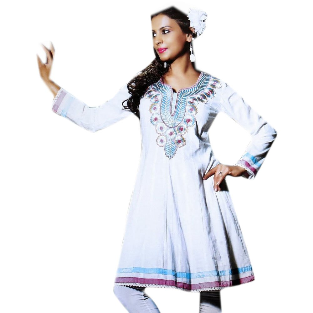 735829e73147e4 Jayayamala Women White Cotton Tunic Multi Color Flower Embroidered Top at  Amazon Women s Clothing store