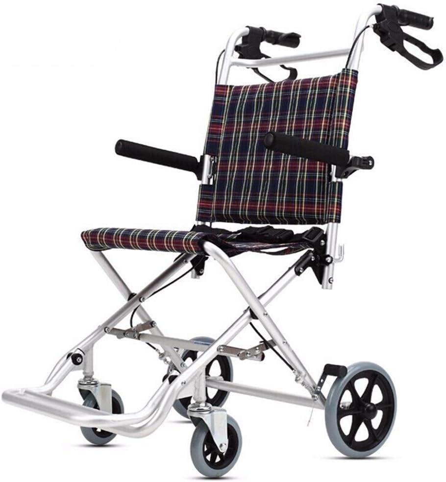 Silla de ruedas de aluminio silla de ruedas súper ligero plegable con freno de mano, 18.1 pulgadas Anchura del asiento, Acceso sin barreras de la Infancia, portátil silla de ruedas por la independenci