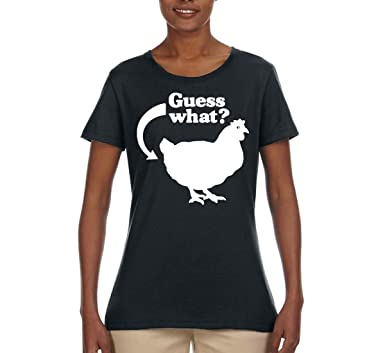 f59beb75237b Wild Bobby Guess What   Chicken Butt White   Womens Pop Culture Tee Graphic  T-