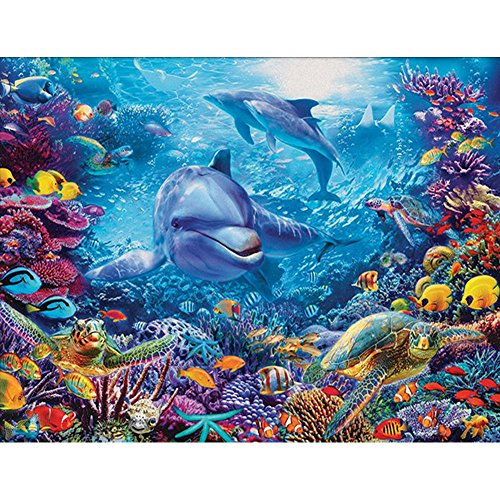 DIY 5D Diamond Painting Kits Full Drill, Astory Rhinestone Crystal Embroidery Pictures Cross Stitch for Home Room Decoration Underwater world & Dolphin 38x30 cm (14.9x11.8inch)