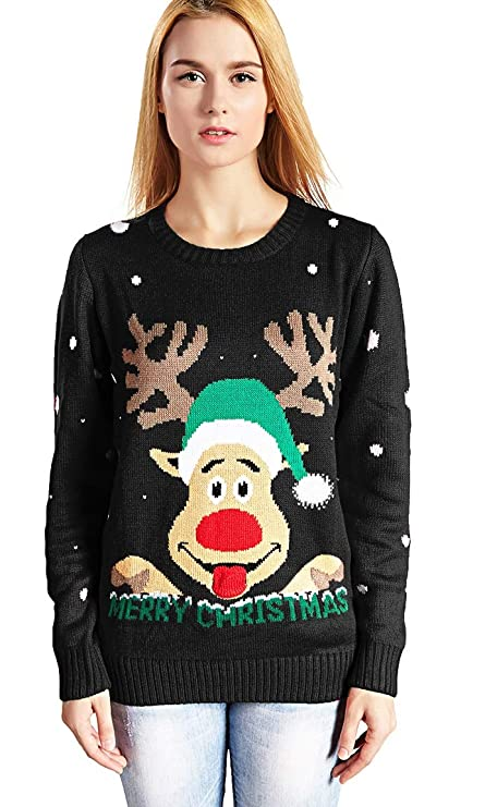 v28 Women s Christmas Reindeer Snowflakes Sweater Pullover at Amazon Women s  Clothing store  aeefa064f
