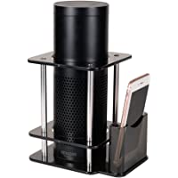 (Echo dot 1st, Clear) - Speaker Stand Case for Alexa Amazon Echo Plus with Remote Holder Addprime Stable and Decor for Home 1st Generation Echo Case Black Clear Transparency